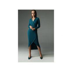 Sukienka Fern - ciemny turkus. Brązowe sukienki dzianinowe marki Mohito, l, z kopertowym dekoltem, kopertowe. Za 309,00 zł.