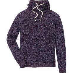 Sweter z szalowym kołnierzem Regular Fit bonprix ciemny lila melanż. Fioletowe swetry klasyczne męskie marki bonprix, l, melanż. Za 74,99 zł.