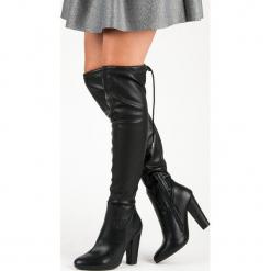 WYSOKIE MUSZKIETERKI NA SŁUPKU. Czarne buty zimowe damskie CM Paris, na wysokim obcasie, na słupku. Za 114,90 zł.