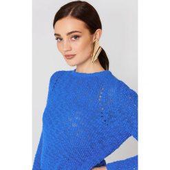 MANGO Sweter ażurowy - Blue. Niebieskie swetry klasyczne damskie marki Mango, z dzianiny. W wyprzedaży za 43,58 zł.