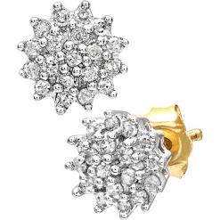 Złote kolczyki-wkrętki z diamentami. Żółte kolczyki damskie REVONI, z diamentem, złote. W wyprzedaży za 818,95 zł.