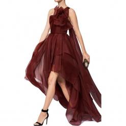 Sukienka w kolorze bordowym. Czerwone długie sukienki marki BOHOBOCO, z asymetrycznym kołnierzem, asymetryczne. W wyprzedaży za 3099,95 zł.