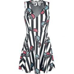 Sourpuss Mesh V-Neck XRAY Sukienka czarny/biały. Białe sukienki na komunię Sourpuss, na imprezę, s, w ażurowe wzory, z materiału. Za 134,90 zł.