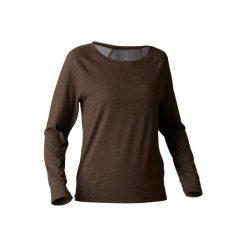 Koszulka długi rękaw Gym & Pilates 500 damska. Brązowe bluzki sportowe damskie marki DOMYOS, xs, z bawełny. W wyprzedaży za 29,99 zł.