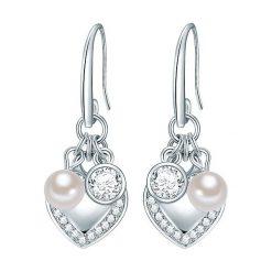 Kolczyki damskie: Posrebrzane kolczyki z perłami muszlowymi i kryształkami