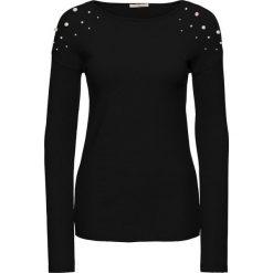 Sweter z aplikacją z perełek bonprix czarny. Czarne swetry klasyczne damskie bonprix, na zimę, z dzianiny. Za 119,99 zł.