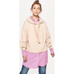 Bluzy rozpinane damskie: Bluza oversize z kapturem - Beżowy
