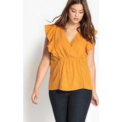 Bluzki asymetryczne: Bluzka z okrągłym dekoltem i krótkim rękawem, jednokolorowa