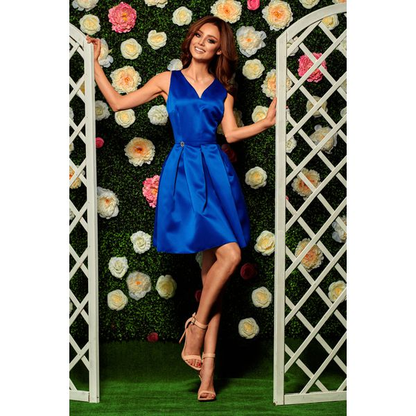 1329c5c58f Rozkloszowana sukienka chabrowa DAKOTA - Niebieskie sukienki damskie ...