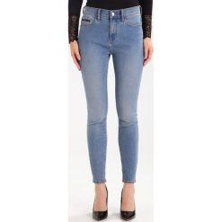 Calvin Klein Jeans HIGH RISE SKINNY ANKLE Jeans Skinny Fit bison blue. Niebieskie jeansy damskie Calvin Kl