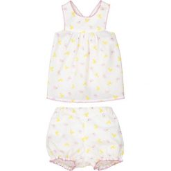 Komplet dziecięcy: koszulka bez rękawów i spodenki, 1 miesiąc - 3 latka. Szare bluzki dziewczęce marki La Redoute Collections, z nadrukiem, z bawełny. Za 70,52 zł.