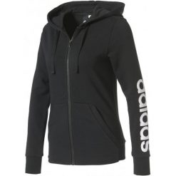 Bluzy damskie: Adidas Bluza Ess Linear Full Zip Hoodie Black/White L