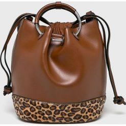Answear - Torebka. Brązowe torebki klasyczne damskie ANSWEAR, w paski, z materiału, średnie. W wyprzedaży za 94,90 zł.