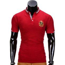 KOSZULKA MĘSKA POLO Z NADRUKIEM S849 - CZERWONY. Czarne koszulki polo marki Ombre Clothing, m, z bawełny, z kapturem. Za 29,00 zł.