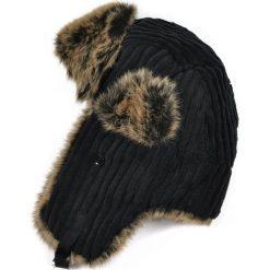 Czapka damska Uszanka Sztruksowa czarno-brązowa. Brązowe czapki zimowe damskie marki Art of Polo, ze sztruksu. Za 37,60 zł.