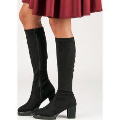 Buty zimowe damskie: Czarne zamszowe kozaki MARIA
