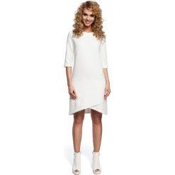 EMELINE Dzianinowa sukienka z zakładką na dole - ecru. Szare sukienki dzianinowe Moe, na co dzień, s. Za 119,00 zł.