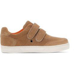 Trampki na rzep ze wzmocnionym czubkiem 26-39. Brązowe buty sportowe chłopięce La Redoute Collections, z bawełny. Za 191,06 zł.