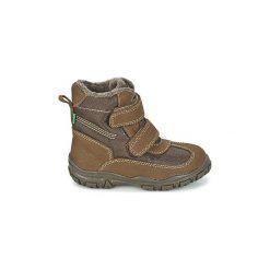 Śniegowce Dziecko Kickers  YEKING. Niebieskie buty zimowe chłopięce marki Kickers, z kauczuku, na sznurówki. Za 207,20 zł.