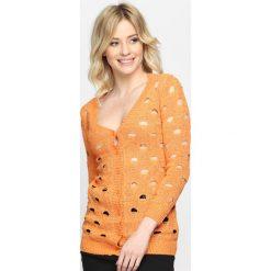 Swetry damskie: Pomarańczowy Kardigan Perforate