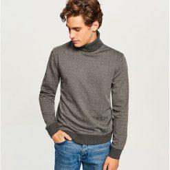 Bluza w jodełkę z golfem - Szary. Szare bluzy męskie rozpinane Reserved, l. Za 99,99 zł.