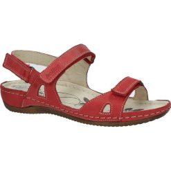 Czerwone sandały skórzane na koturnie Helios 205. Czerwone sandały damskie marki Helios, na koturnie. Za 158,99 zł.