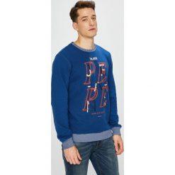 Pepe Jeans - Bluza Justin. Niebieskie bluzy męskie rozpinane Pepe Jeans, l, z nadrukiem, z bawełny, bez kaptura. Za 259,90 zł.