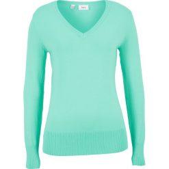 Swetry klasyczne damskie: Sweter z dekoltem w serek bonprix jasny miętowy