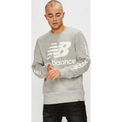 New Balance - Bluza. Szare bluzy męskie rozpinane New Balance, l, z nadrukiem, z bawełny, bez kaptura. Za 269,90 zł.