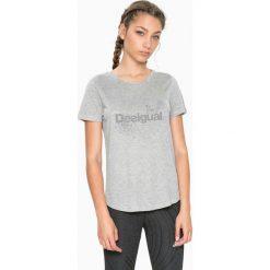 Koszulka w kolorze szarym. Szare bluzki sportowe damskie Desigual Sport, s, z nadrukiem, z wiskozy. W wyprzedaży za 65,95 zł.