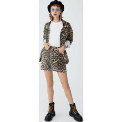 Jeansowa spódnica w panterkę. Szare spódniczki jeansowe Pull&Bear, z motywem zwierzęcym. Za 89,90 zł.