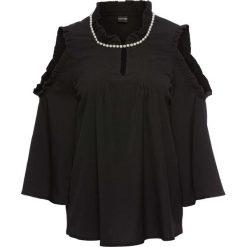 Bluzka z perełkami bonprix czarny. Czarne bluzki asymetryczne bonprix, z aplikacjami. Za 89,99 zł.
