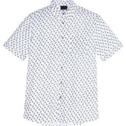 Koszula z krótkim rękawem Regular Fit bonprix biały z nadrukiem. Brązowe koszule męskie marki QUECHUA, m, z elastanu, z krótkim rękawem. Za 32,99 zł.
