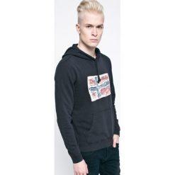 Napapijri - Bluza. Czarne bluzy męskie rozpinane marki Napapijri, l, z aplikacjami, z bawełny, z kapturem. W wyprzedaży za 299,90 zł.