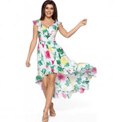 Elegancka Maxi Kolorowa Sukienka w Typu Hiszpanka. Białe długie sukienki Molly.pl, na lato, l, w kolorowe wzory, z satyny, eleganckie, z dekoltem typu hiszpanka, dopasowane. Za 259,90 zł.