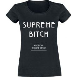 American Horror Story Supreme Bitch Koszulka damska czarny. Czarne bluzki z odkrytymi ramionami American Horror Story, l, z nadrukiem, z okrągłym kołnierzem. Za 74,90 zł.