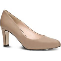 Czółenka FRIDA. Brązowe buty ślubne damskie Gino Rossi, ze skóry, na wysokim obcasie, na obcasie. Za 224,95 zł.