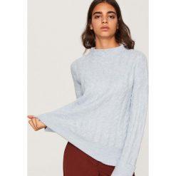 Sweter o warkoczowym splocie - Niebieski. Niebieskie swetry klasyczne damskie Reserved, l, ze splotem. Za 89,99 zł.