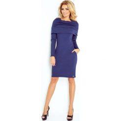 Granatowa Sukienka Dopasowana z Obfitym Golfem. Niebieskie długie sukienki marki Molly.pl, l, z tkaniny, eleganckie, z golfem, z długim rękawem, dopasowane. Za 149,90 zł.