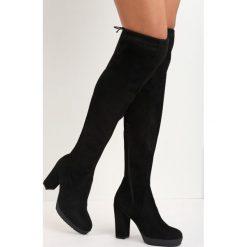 Czarne Zamszowe Kozaki More Strength. Czarne buty zimowe damskie marki Born2be, z zamszu, na wysokim obcasie, na słupku. Za 94,99 zł.
