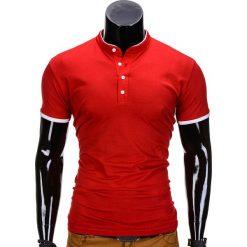 KOSZULKA MĘSKA POLO BEZ NADRUKU S848 - CZERWONA. Czarne koszulki polo marki Ombre Clothing, m, z bawełny, z kapturem. Za 29,00 zł.