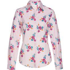 Bluzki asymetryczne: Bluzka z długim rękawem bonprix pastelowy jasnoróżowy - biały w kwiaty