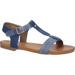 Granatowe lekkie sandały damskie płaskie z paskiem przez środek Casu K18X1/N. Szare sandały damskie Casu, na płaskiej podeszwie. Za 29,99 zł.