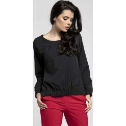 Bluzki damskie: Czarna Oversizowa Asymetryczna Bluzka z Gumkami