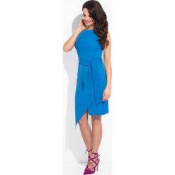 Sukienki: Niebieska Sukienka Dopasowana z Kopertowym Dołem