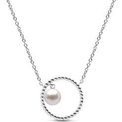 Naszyjniki damskie: Naszyjnik w kolorze srebrnym z perłą - (D)41 cm