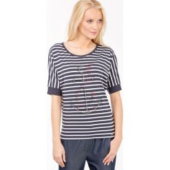 Bluzki asymetryczne: Prążkowana bluzka z kotwicą