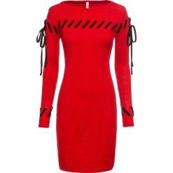 Sukienka dzianinowa bonprix czerwony. Czerwone sukienki dzianinowe bonprix. Za 109,99 zł.