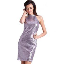 Cekinowa Mini Sukienka Ołówkowa z Halterem. Szare sukienki balowe marki QUIOSQUE, do pracy, uniwersalny, w jednolite wzory, z materiału, z dekoltem na plecach, ołówkowe. Za 239,90 zł.