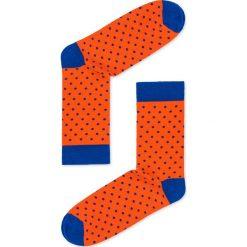 Skarpety męskie we wzory U22 - pomarańczowe. Czarne skarpetki męskie marki Ombre Clothing, m, w kropki. Za 7,99 zł.